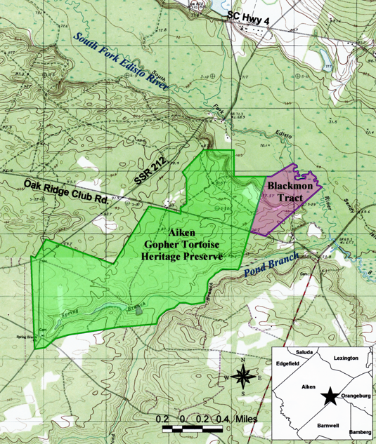 Topographic map showing the Blackmon Tract (in pink) and adjacent Gopher Tortoise Heritage Preserve (in green).