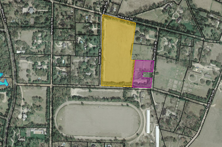 Aerial photo showing lands protected by ALC in Aiken's Horse District. The area in pink is the 2.5-acre Clark Barn tract, on which ALC holds a conservation easement. The area in yellow is the 12-acre Winthrop Polo Field, which is owned by ALC.