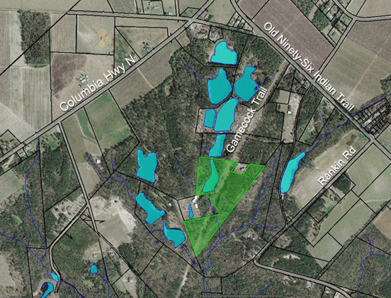 Aerial photo showing the 21-acre Power Preserve, on which ALC holds a conservation easement.