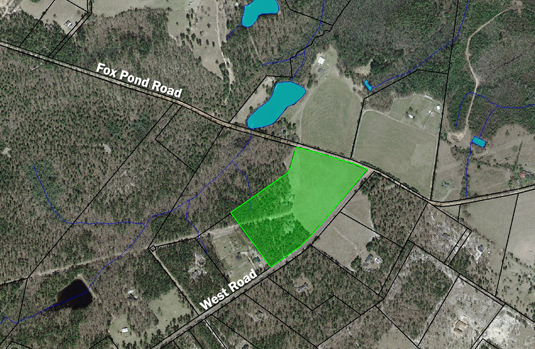 Aerial photo showing Preston Preserve lands protected by conservation easement.