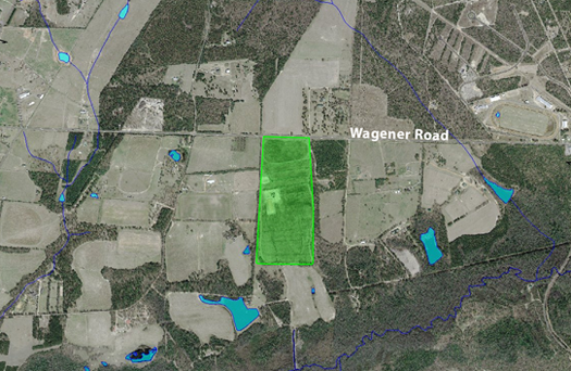 Aerial photo showing Soucy Preserve lands protected by conservation easement.