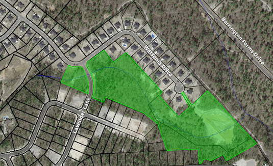 Aerial photo showing lands protected by a conservation easement in the Talatha Gardens subdivision south of Aiken.